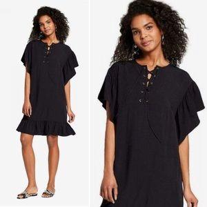 Who What Wear Lace Up Ruffle Dress